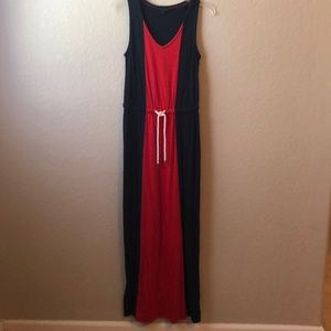 Long maxi dress with tie detail at waste